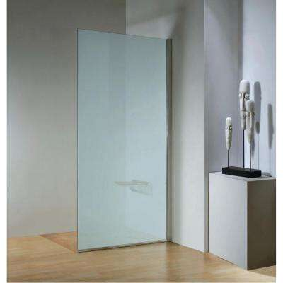 35.4 in. x 79 in. Right Hand Side Frameless Fixed Shower Door in Chrome