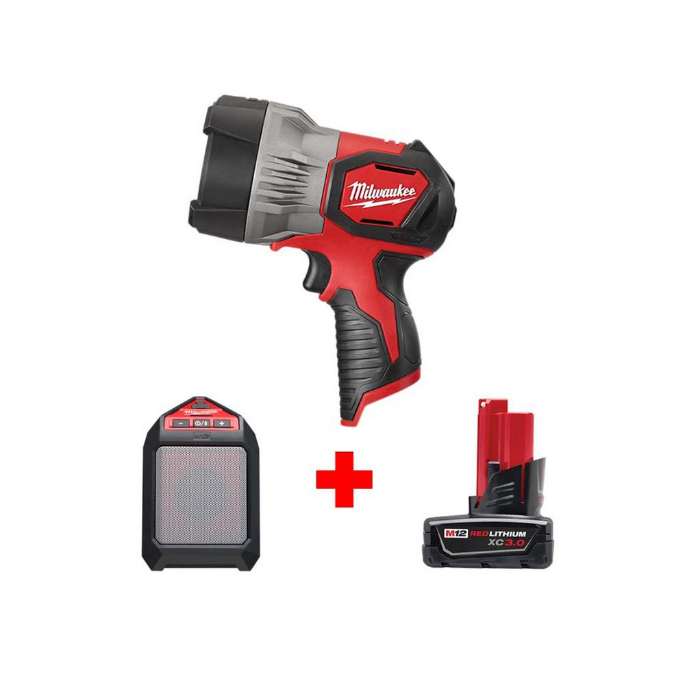 Milwaukee M12 12-Volt Lithium-Ion Cordless 750 Lumens TRUEVIEW LED Spotlight with M12 Jobsite Speaker and 3.0 Ah Battery
