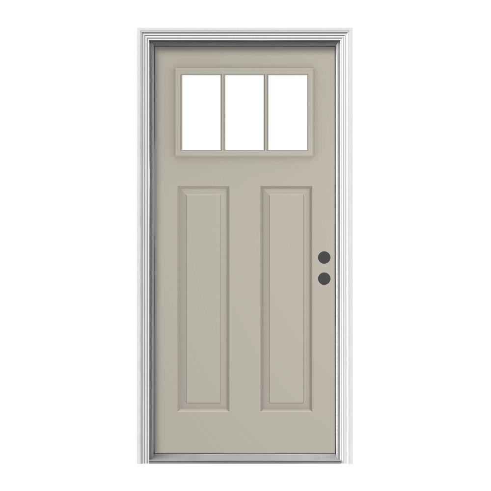 Jeld wen 36 in x 80 in 3 lite craftsman desert sand for Jeld wen front entry doors