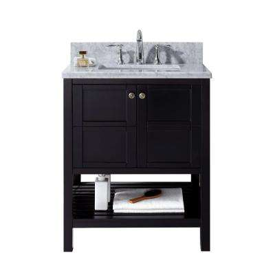 Winterfell 30 in. W Bath Vanity in Espresso with Marble Vanity Top in White with Square Basin