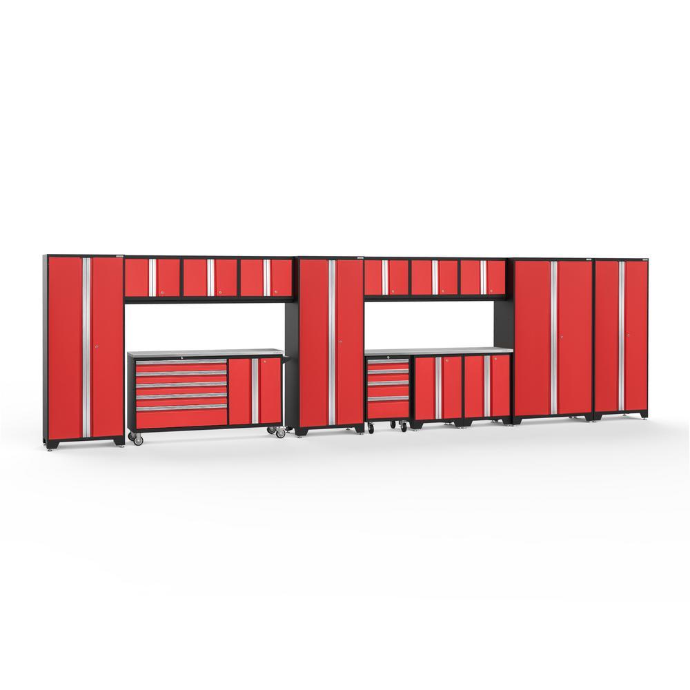 Bold 3.0 276 in. W x 75.25 in. H x 18 in. D 24-Gauge Welded Steel Stainless Steel Worktop Cabinet Set in Red (15-Piece)