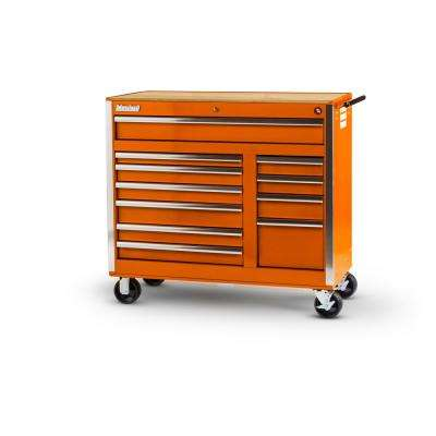 Tech Series 42 in. 11-Drawer Roller Cabinet Tool Chest with Woodtop Orange