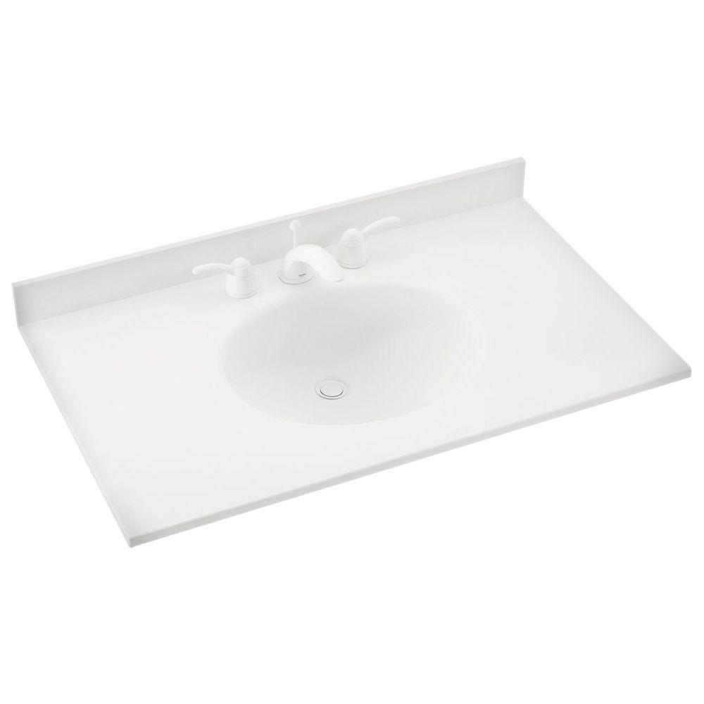 Swan Ellipse 43 in. W x 22 in. D x 10-1/4 in. H Solid-Surface Vanity Top in White with White Basin