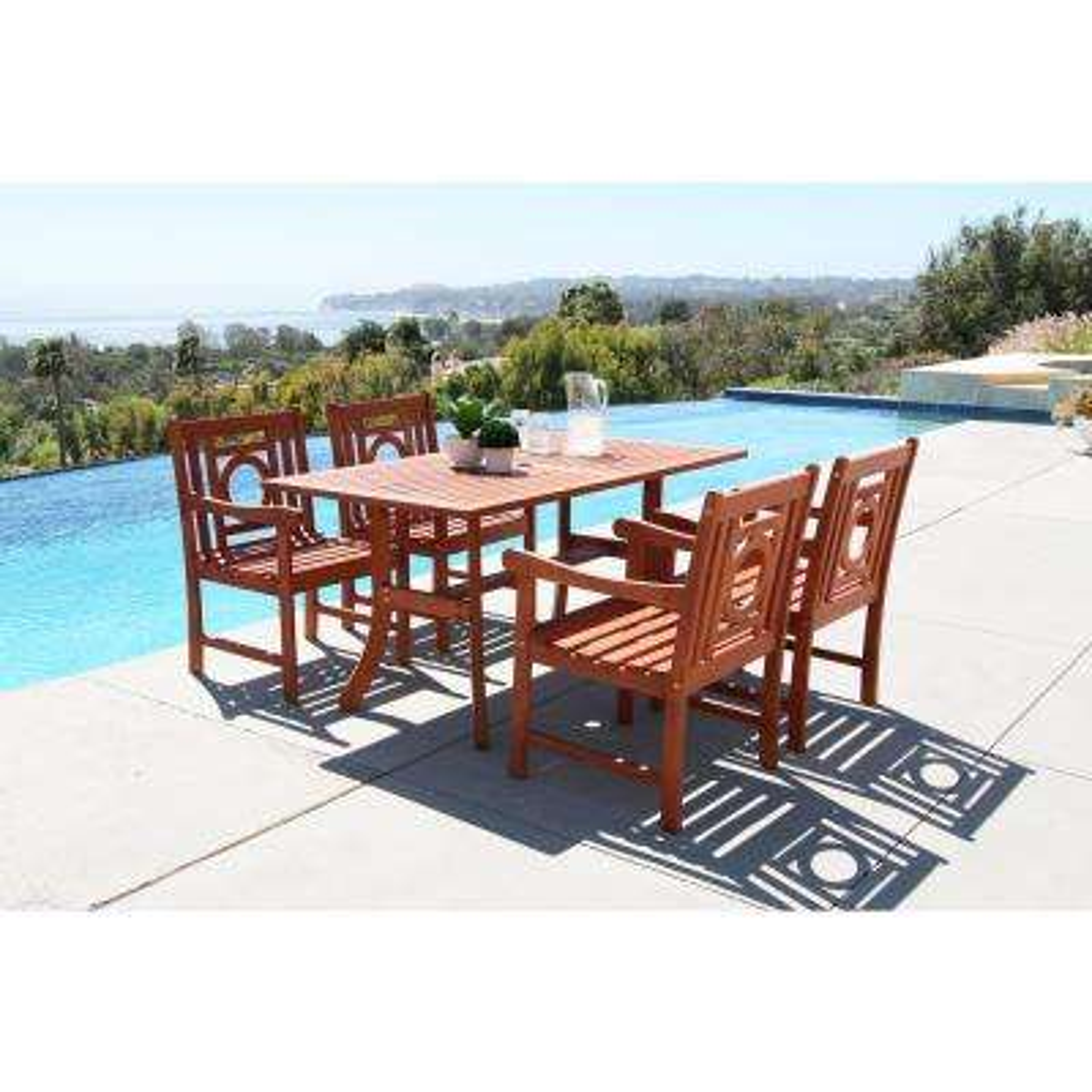 Malibu Hardwood 5-Piece Rectangle Patio Dining Set
