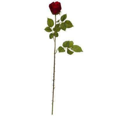 Indoor 33 in. Elegant Red Rose Bud Artificial Flower (Set of 6)