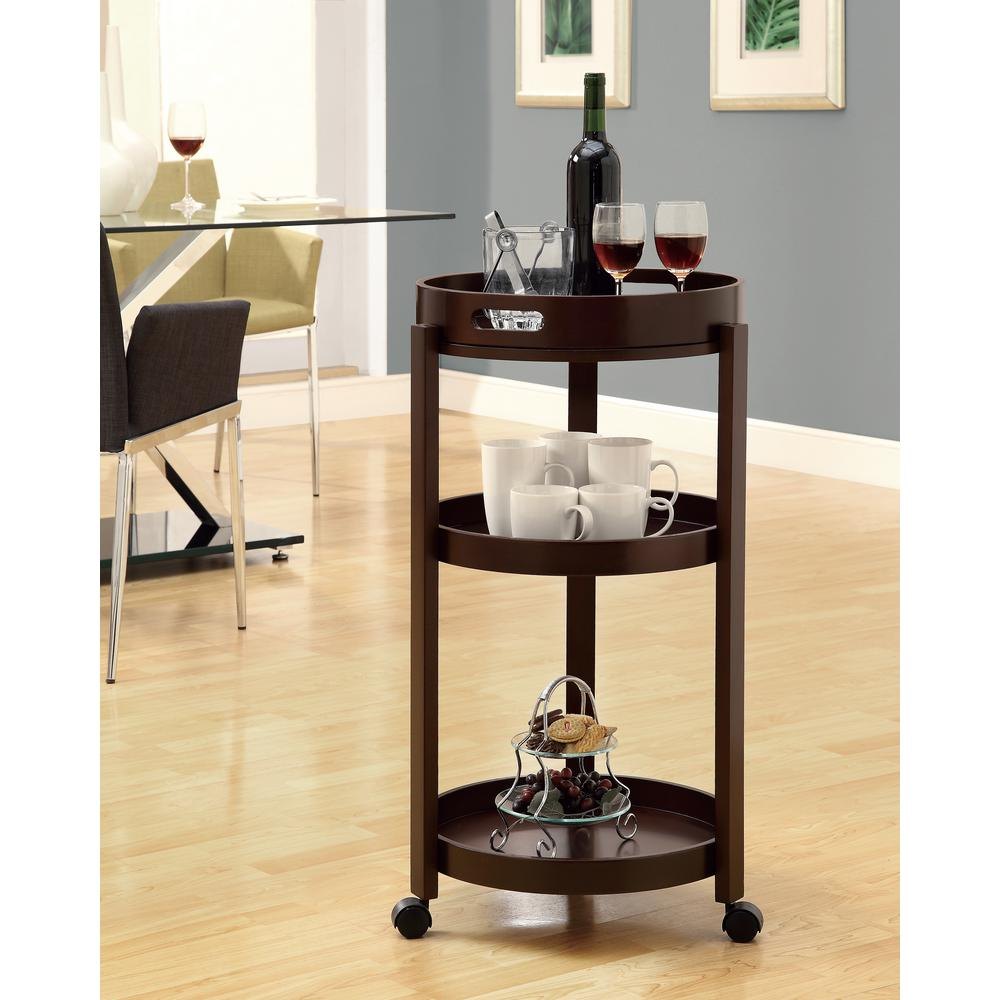 null Home Bar Cart on Castors with Serving Tray in Cappuccino