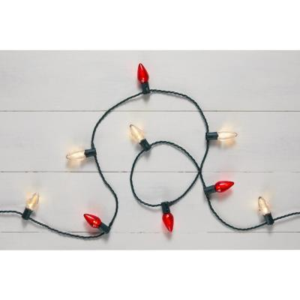16 ft. 9 in. 25-Light LED Red and White C9 Super Bright String Light