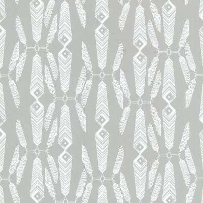 Lainey Grey Feather Wallpaper Sample