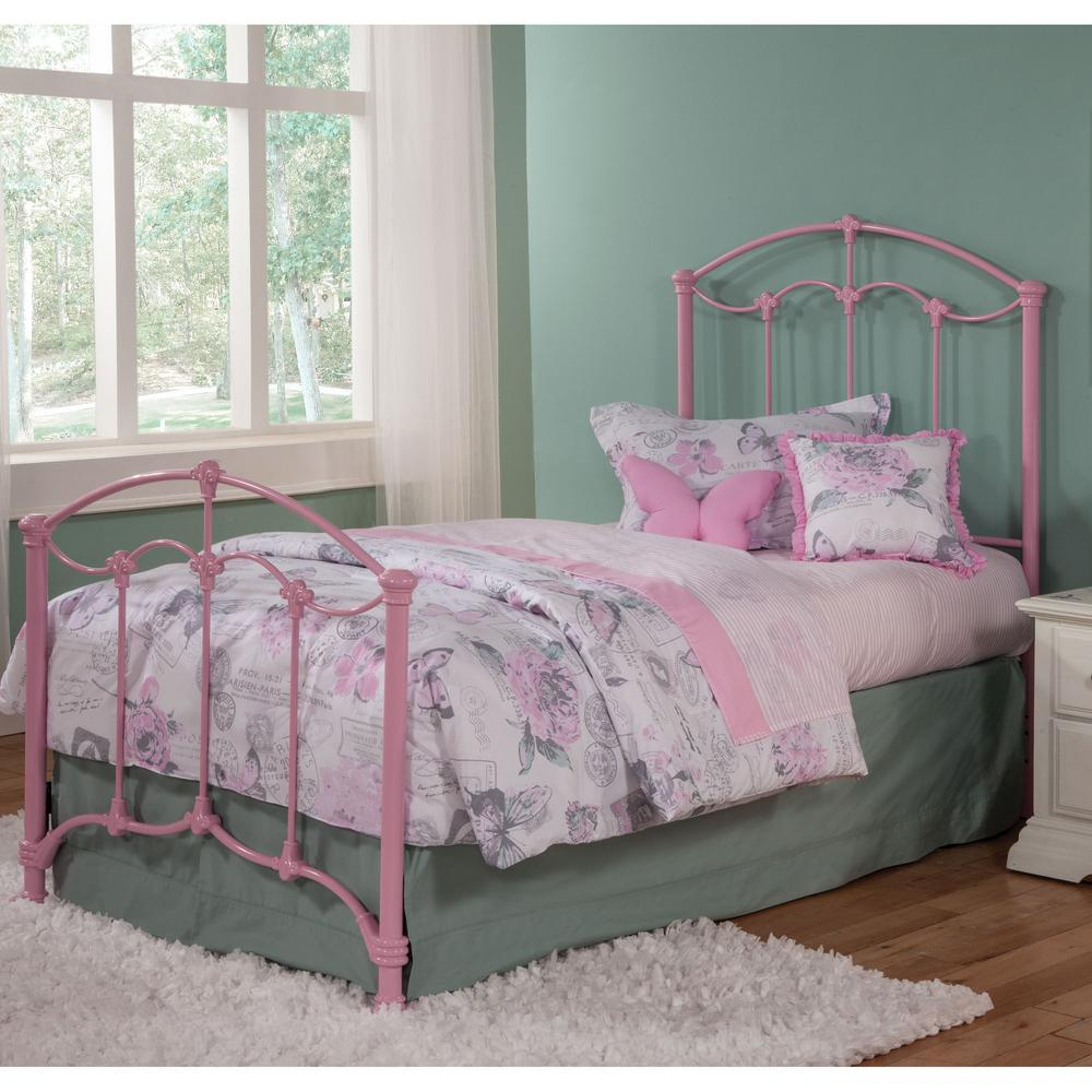 Fashion Bed Group Amberley Pastel Pink Twin Kids Bed With Metal Duo Panels  And Floral Medallions
