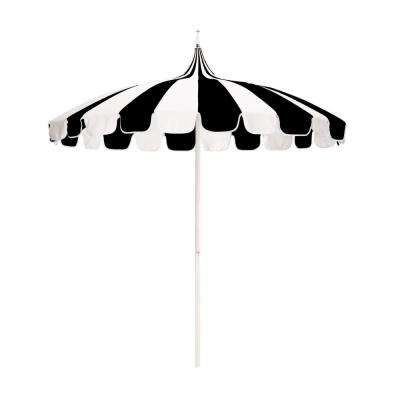3023af4f8ff5d White Aluminum Market Push Lift Pagoda Patio Umbrella in Black and Natural  Pacifica