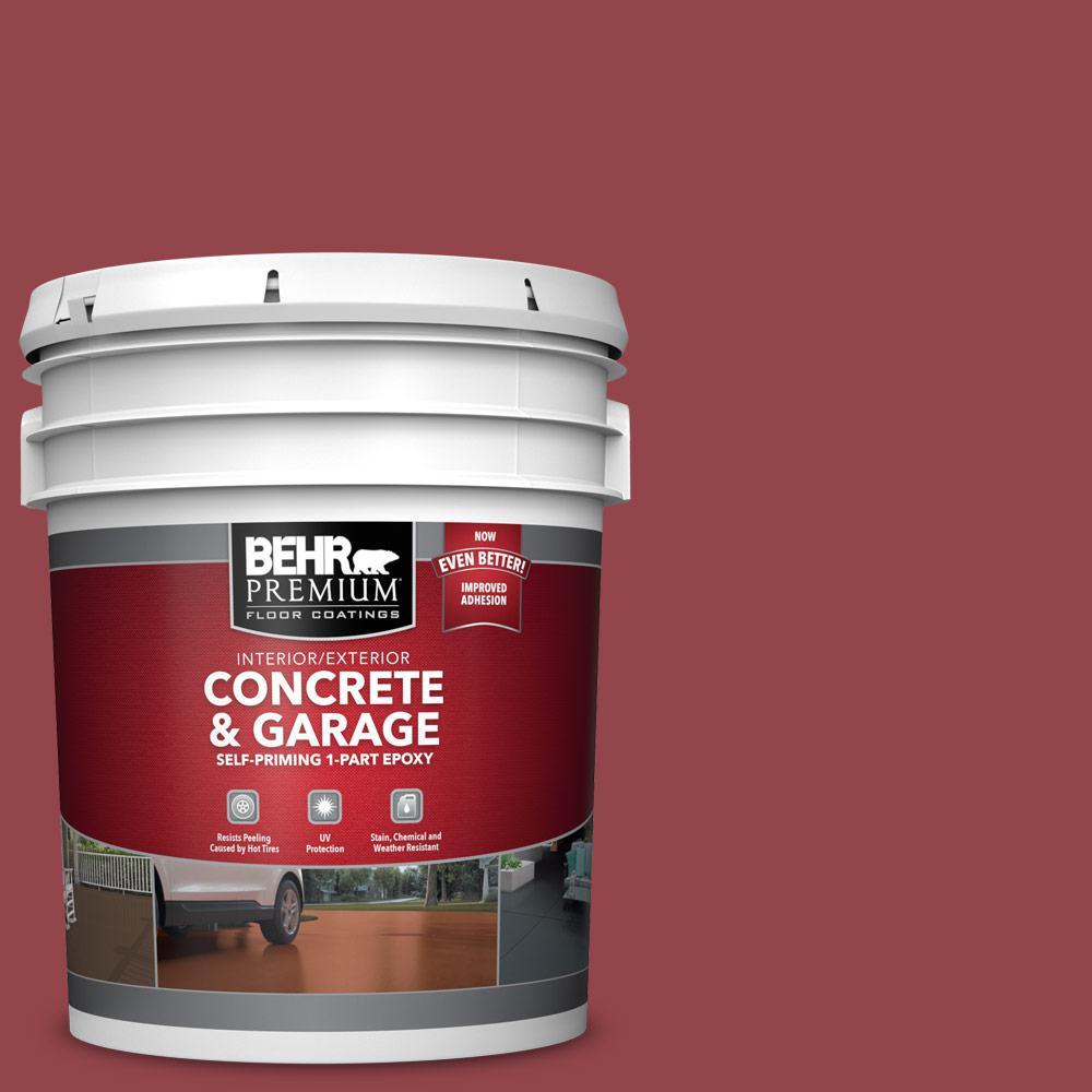 5 gal. #M140-6 Circus Red Self-Priming 1-Part Epoxy Satin Interior/Exterior Concrete and Garage Floor Paint