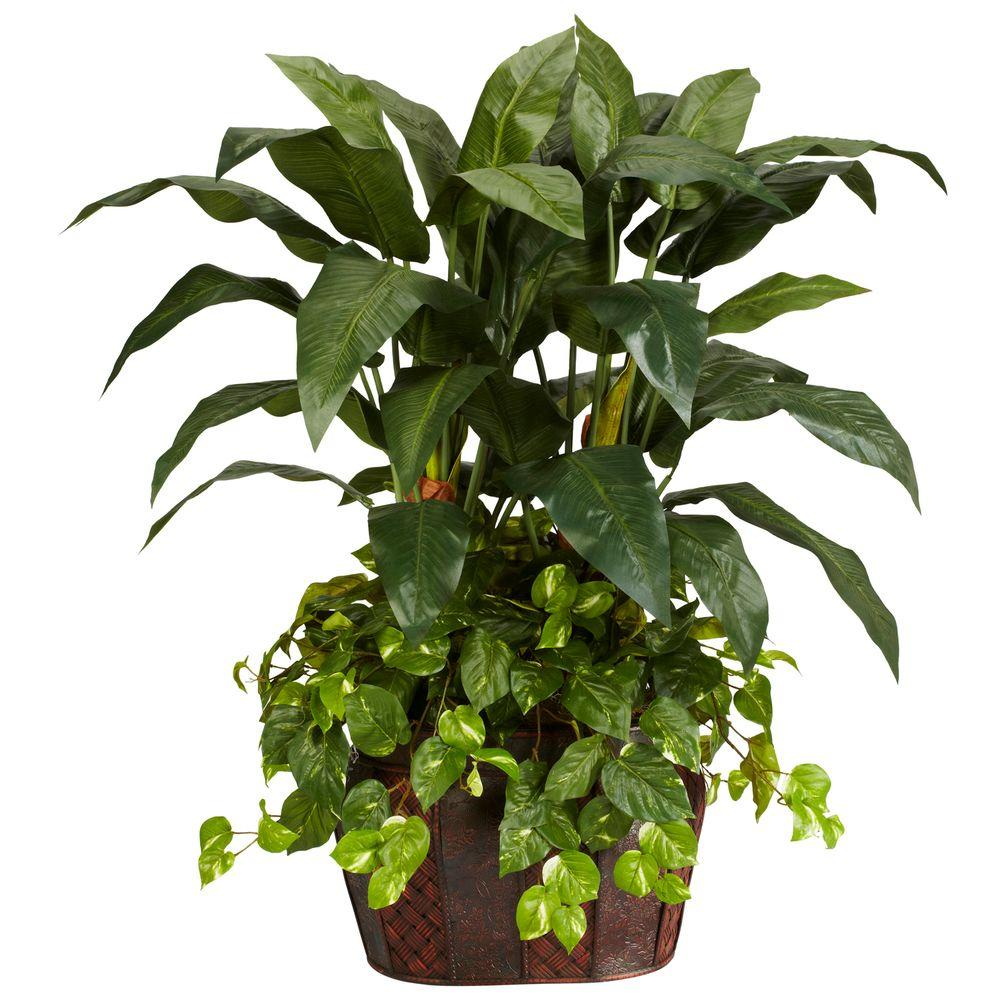 Nearly Natural 4 Ft Green Double Bird Of Paradise With Vase And Pothos Silk Plant 6636 The Home Depot