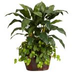 4 ft. Green Double Bird of Paradise with Vase and Pothos Silk Plant