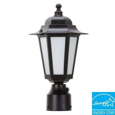 1-Light Outdoor Textured Black Post Lantern with Satin White Glass