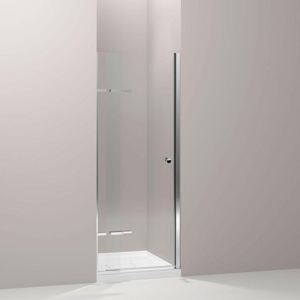 KOHLER Underline 31-1/4 in. x 69-1/2 in. Pivot Shower Door in Bright Polished Silver with Handle