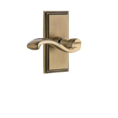 Carre Plate 2-3/4 in. Backset Vintage Brass Privacy Bed/Bath with Portofino Door Lever