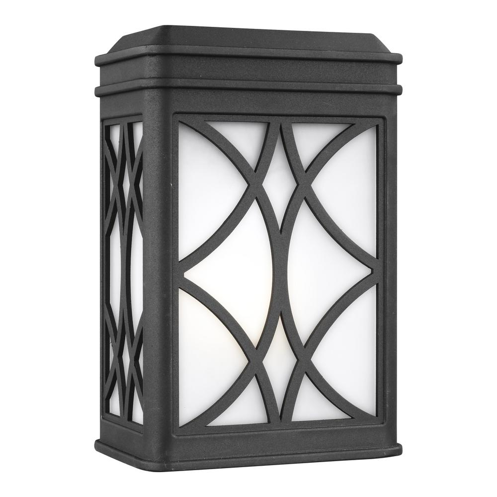 Sea Gull Lighting Melito Small 1-Light Black Outdoor 9 in. Wall Mount Lantern with LED Bulb