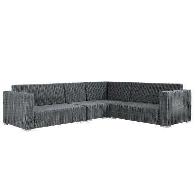 Camari Charcoal Square Arm Wicker Outdoor Sectional with Gray Cushion