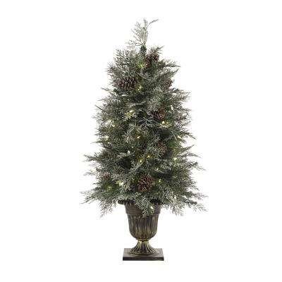 4 ft. Pre-Lit LED Frosted Mountain Spruce Christmas Tree with 100 Warm White Lights