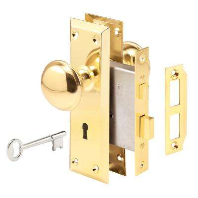 Steel Brass-Plated Finish Mortise Keyed Lock Set Privacy Interior Door Knob with Lock Bolt Featuring Victorian Style