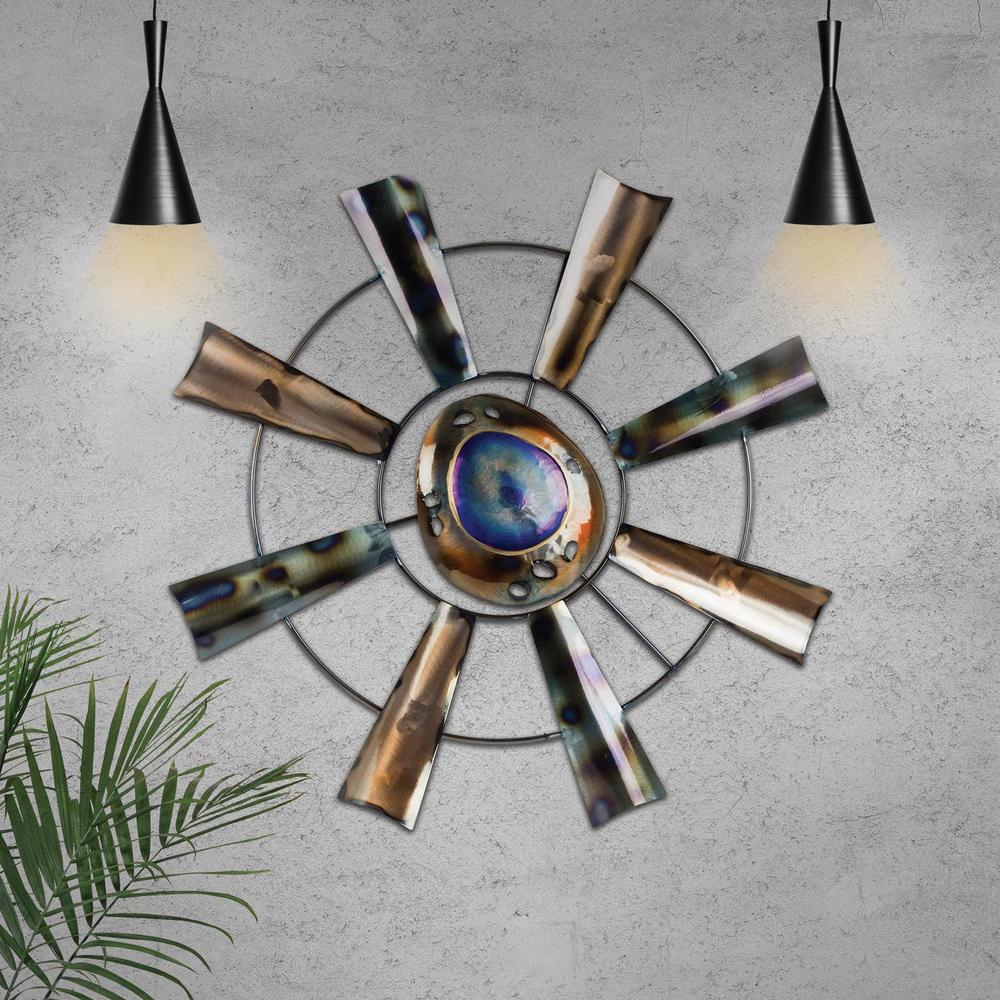 Windmill Wheel Abstract Metal Art Wall Decor