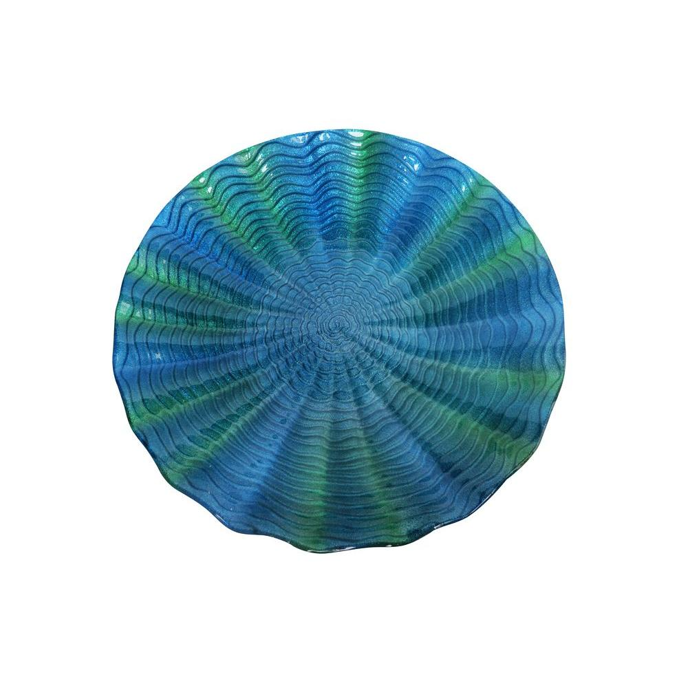 18 in. Blue/Green Birdbath