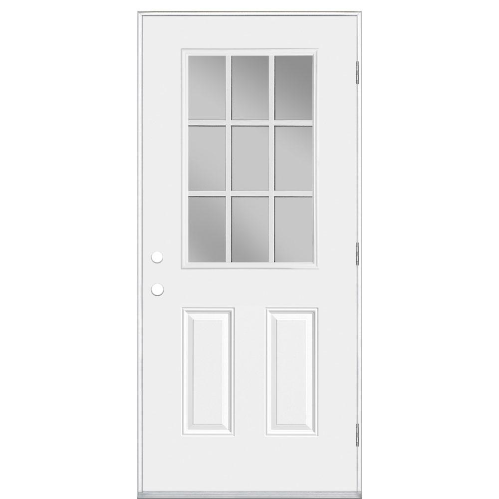 Masonite 36 in x 80 in premium 9 lite primed right hand outswing steel prehung front door no 36 x 80 outswing exterior door