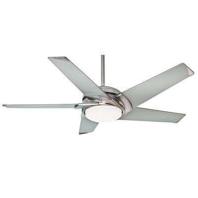 Stealth 54 in. Indoor Brushed Nickel Ceiling Fan with Light Kit and Universal Wall Control with Remote Control