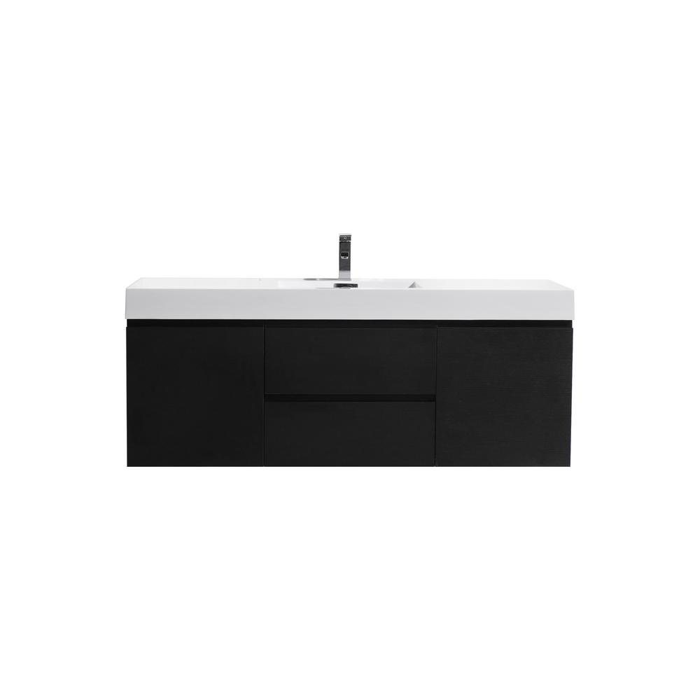 Moreno Bath Fortune 60 in. W Bath Vanity in Rich Black with Reinforced Acrylic Vanity Top in White with White Basin
