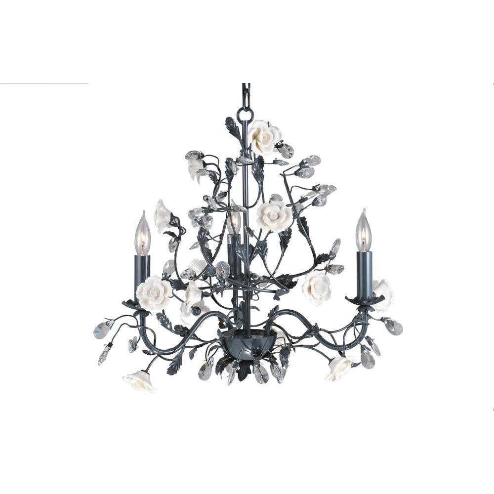 Illumine 3 Light White Lacquer Chandelier