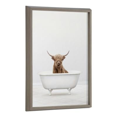 Blake 24 in. x 18 in. Highland Cow Solo Bathtub by Amy Peterson Framed Printed Glass Wall Art