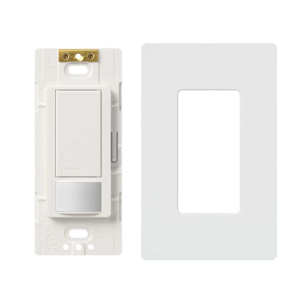 Lutron Maestro 5 Amp Single-Pole/3-Way Motion Sensor Switch with Wallplate, White