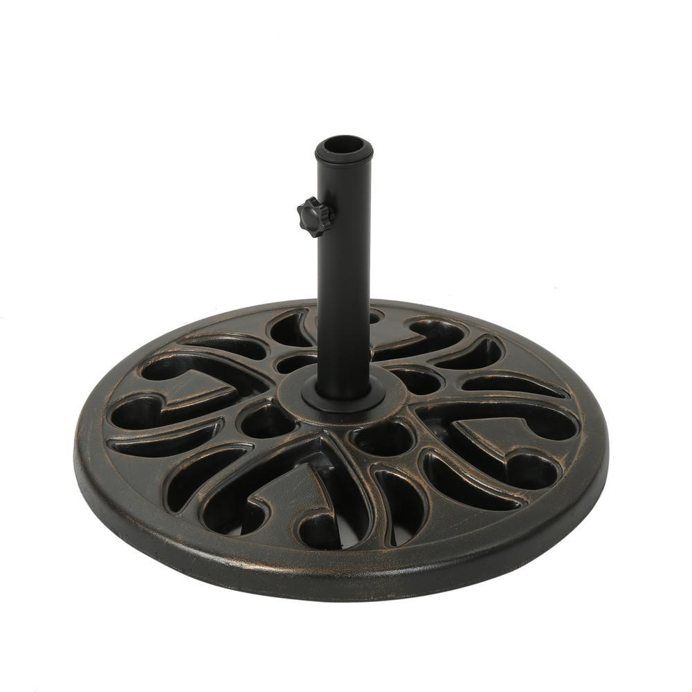 Tine 30.51 lbs. Concrete Patio Umbrella Base in Hammered Dark Copper
