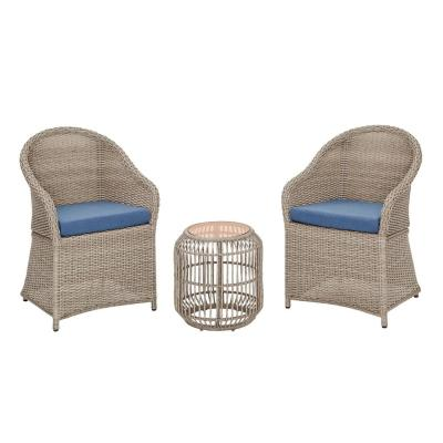 Florence 3-Piece Wicker Outdoor Patio Bistro Set with Blue Cushions