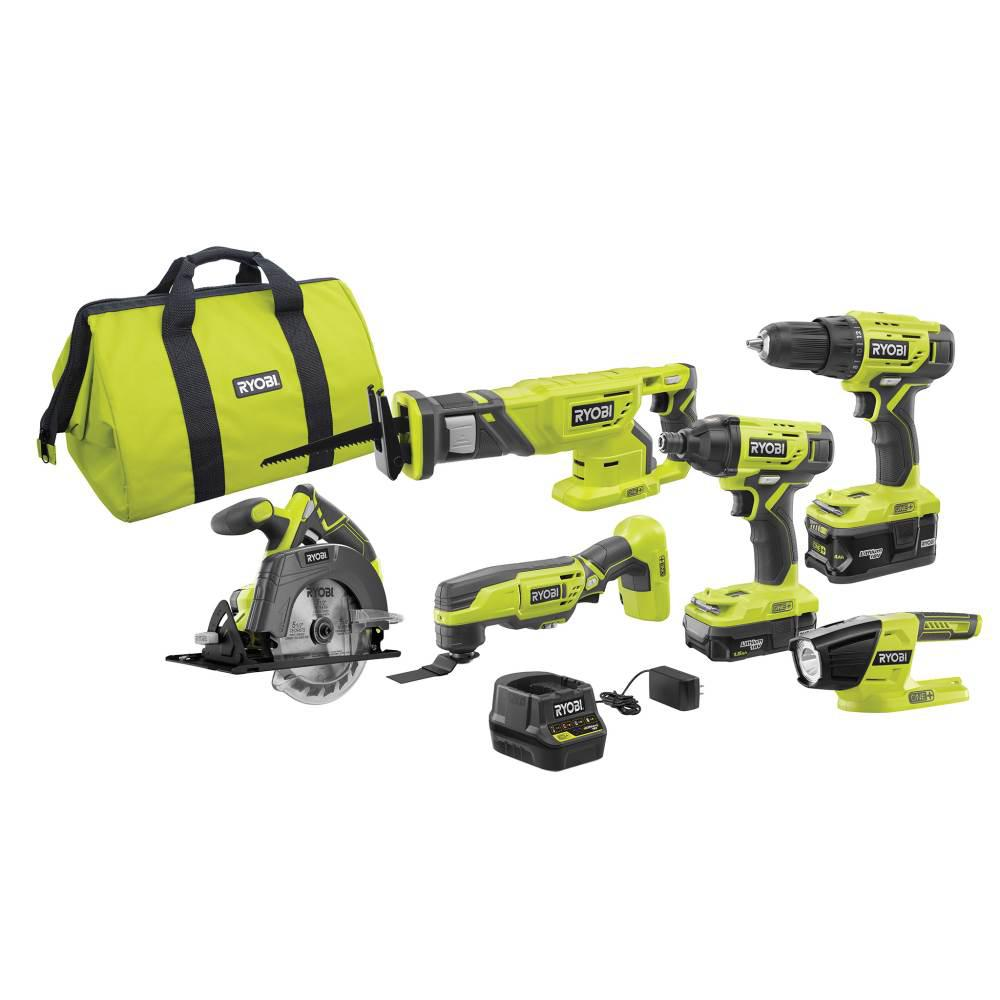 RYOBI 18-Volt ONE+ Lithium-Ion Cordless 6-Tool Combo Kit with (2) Batteries, Charger, and Bag was $299.0 now $199.0 (33.0% off)