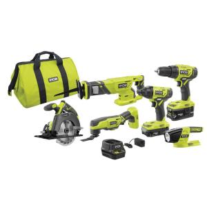 Deals on RYOBI 18-Volt ONE+ Lithium-Ion Cordless 6-Tool Combo Kit