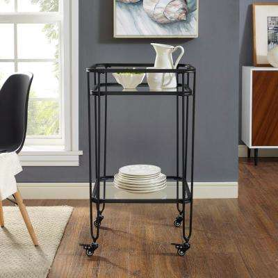 35 in. Metal and Glass Serving Cart in Black