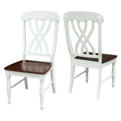 Alabaster & Espresso Wood Lattice Back Dining Chair (Set of 2)