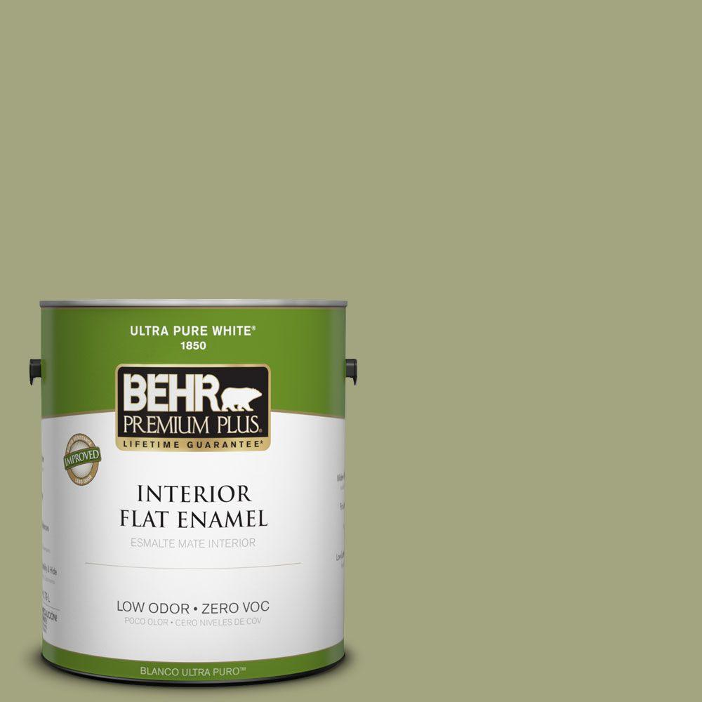 BEHR Premium Plus 1-gal. #410F-4 Mother Nature Zero VOC Flat Enamel Interior Paint-DISCONTINUED