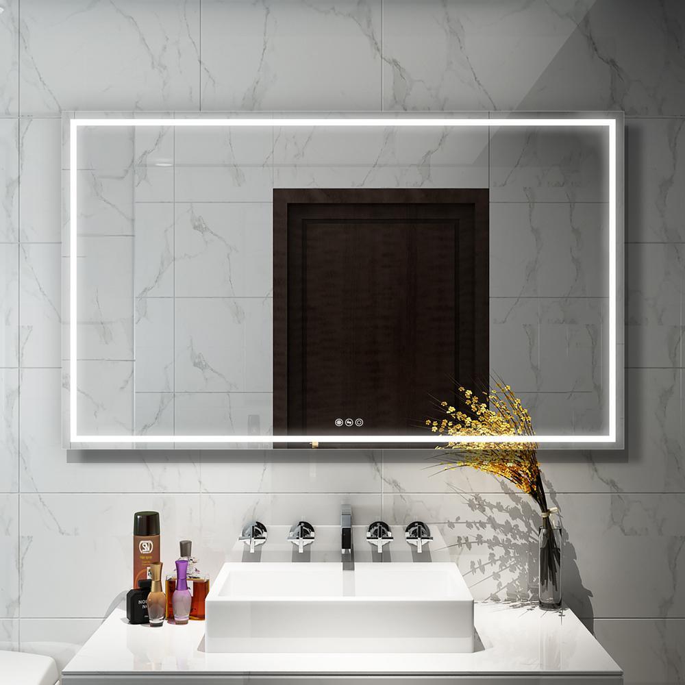60 in. W x 36 in. H Frameless Rectangular LED Light Bathroom Vanity Mirror in clear