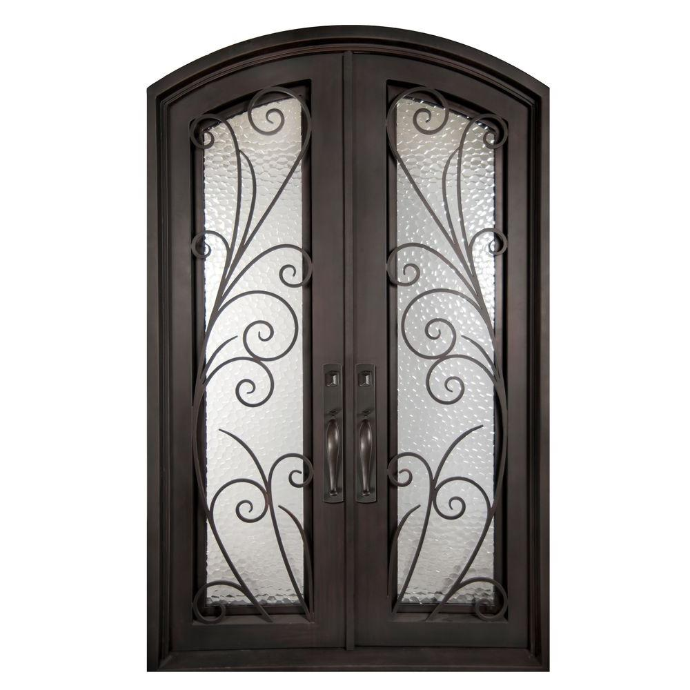Iron Doors Unlimited 62 in. x 98 in. Flusso Classic Full Lite Painted Oil Rubbed Bronze Decorative Wrought Iron Prehung Front Door