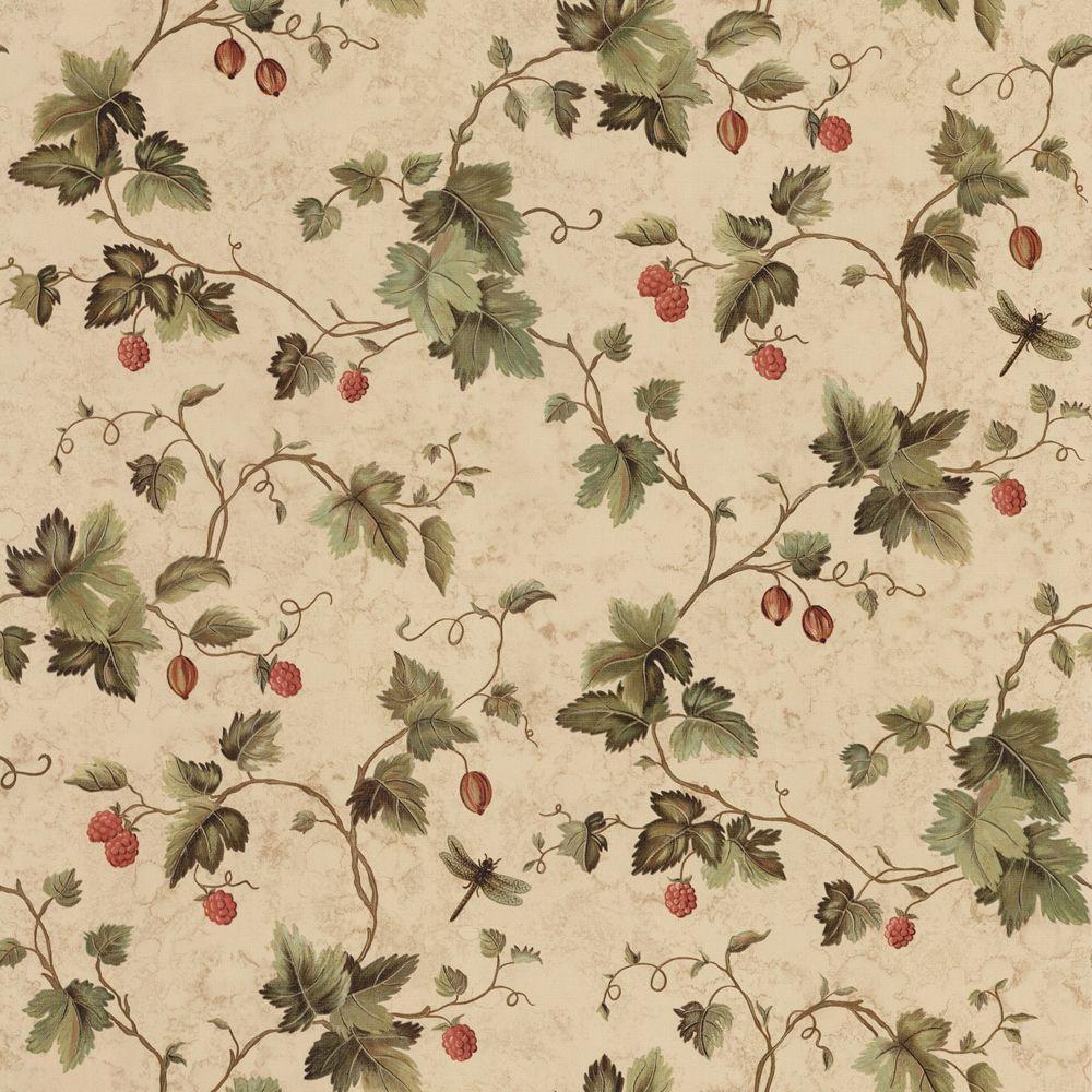The Wallpaper Company 56 sq. ft. Green Orchard Vine Wallpaper