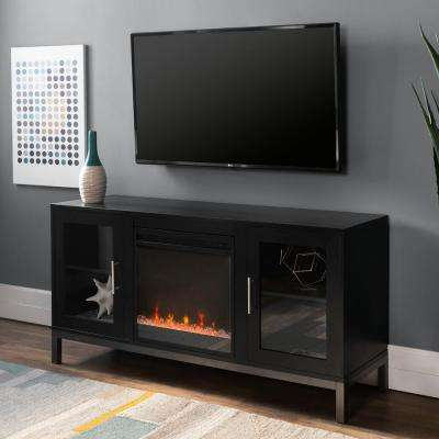 52 in. Avenue Wood Fireplace TV Console with Metal Legs in Black