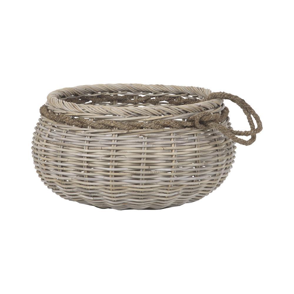 Sumbawa 27 in. x 14 in. Natural Rattan Decorative Basket