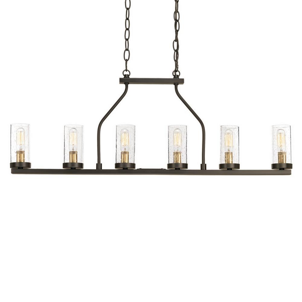 Hartwell 34 in. 6-Light Antique Bronze Island Chandelier with Clear Seeded