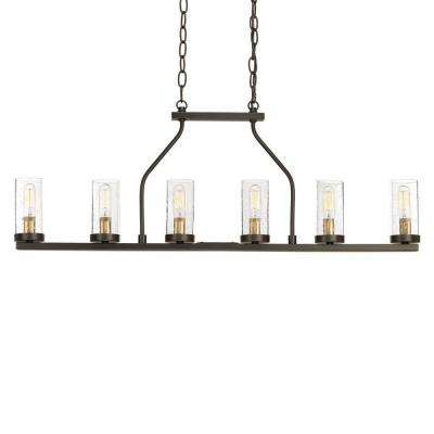 Hartwell 34 in. 6-Light Antique Bronze Island Chandelier with Clear Seeded Glass and Natural Brass Accents