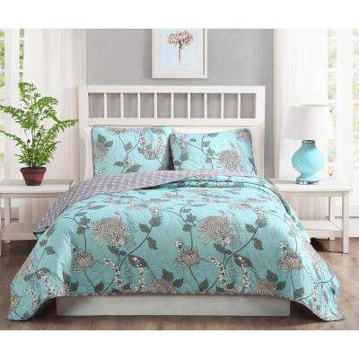 Amelie 3-Piece Aqua Reversible Queen Quilt Set