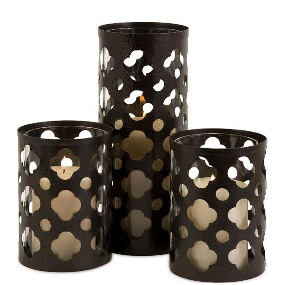 Home Decorators Collection Norte Assorted Sizes Brown Iron Cutwork Candle Holders (Set of 3)