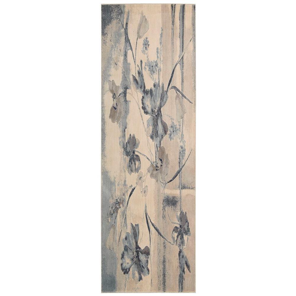 Somerset Ivory/Blue 2 ft. 3 in. x 8 ft. Rug Runner