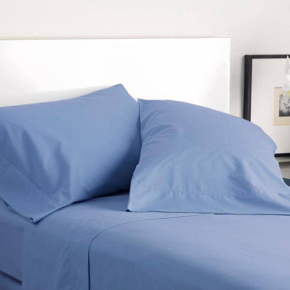 Modern Living 300 Thread Count 3 Piece Shadow Blue Cotton Twin Sheet Set